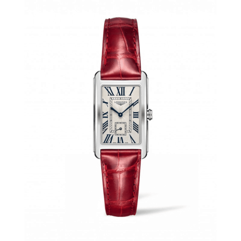 Women's Swiss Longines DolceVita Red Leather Strap Watch