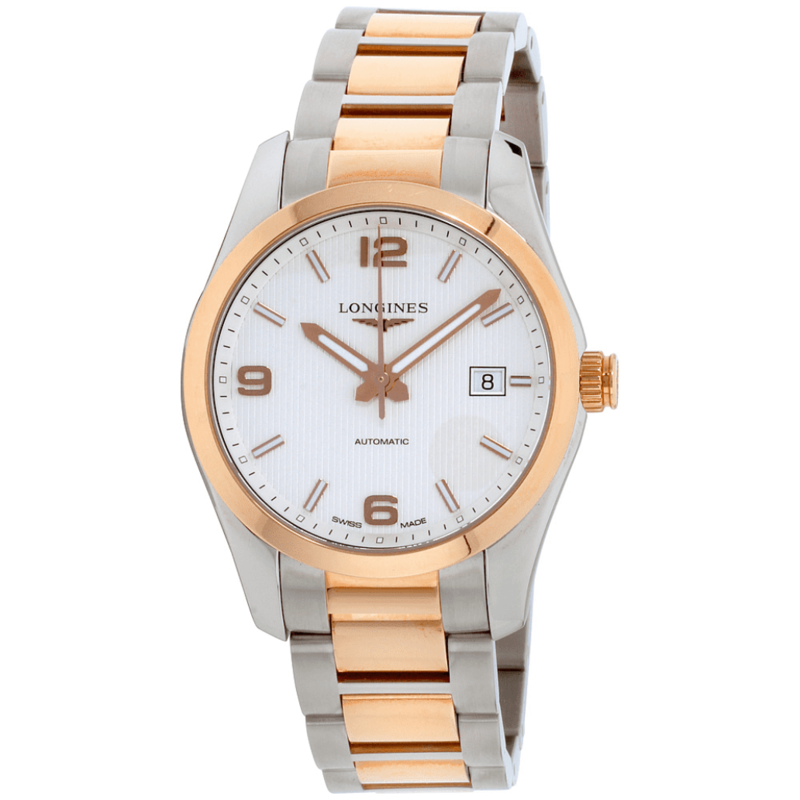 Conquest Classic Automatic Silver Dial Stainless Steel and 18k Rose Gold