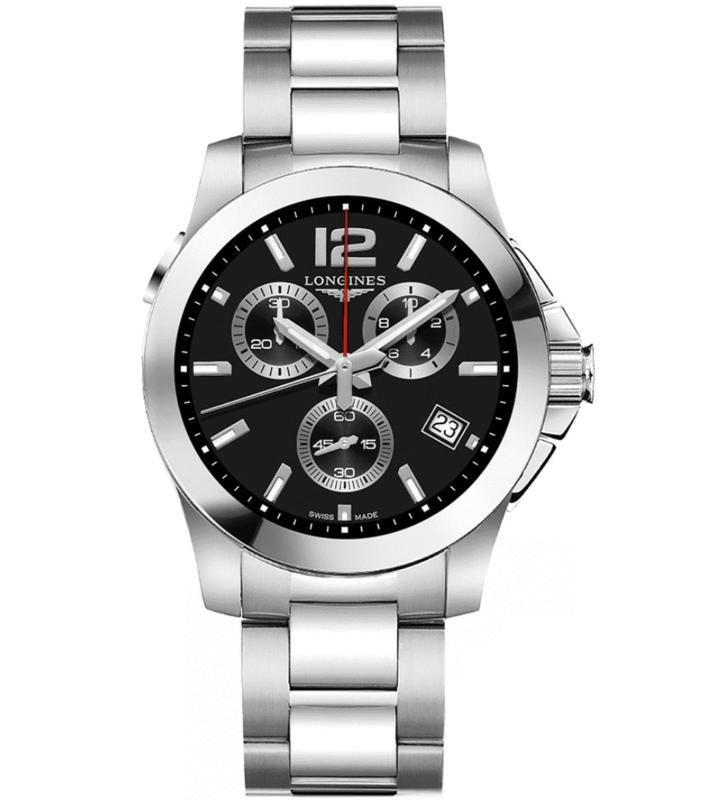 Conquest Chronograph Quartz Black Dial Men's Watch