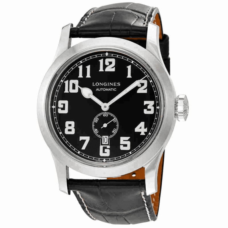 Heritage Miltary Automatic Black Leather Men's Watch