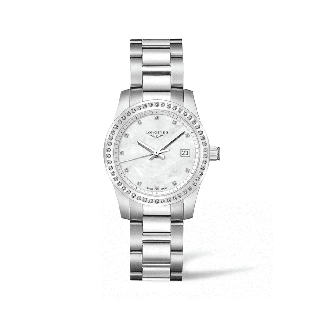 Conquest Mother of Pearl Diamond Stainless Steel Ladies Watch