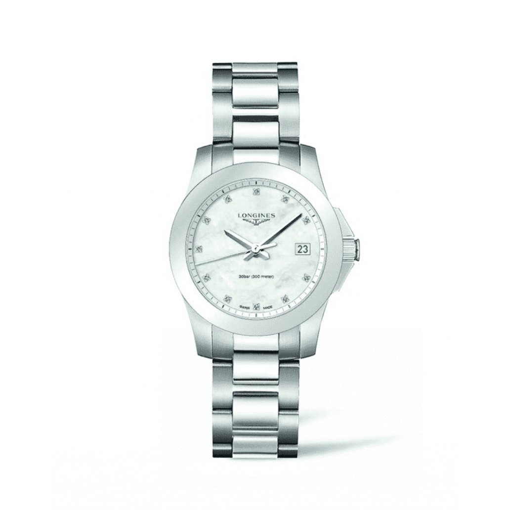 Longines Conquest Women's Watch Diamonds Mother of Pearl Dial Sapphire Crystal Quartz