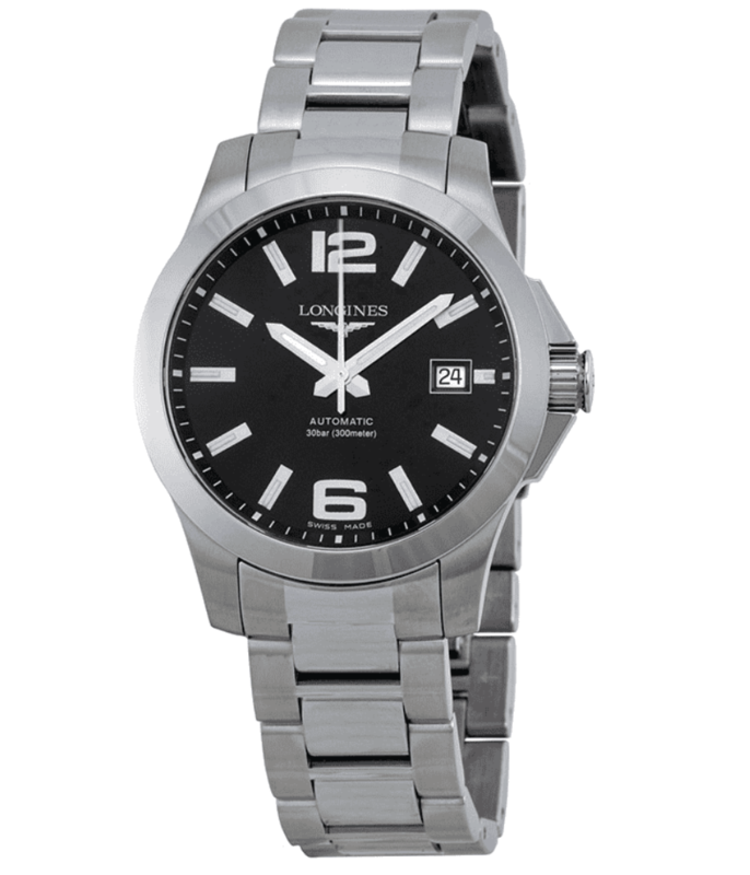 Conquest Black Dial Stainless Steel Men's Watch