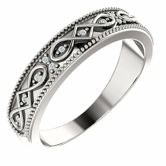 14K White .03 CTW Celtic-Inspired Anniversary Band