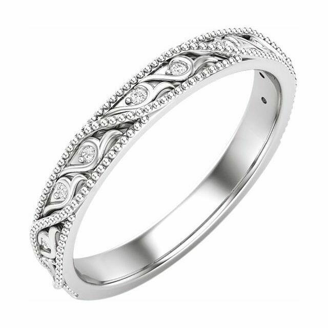 14K White .05 CTW Diamond Anniversary Band