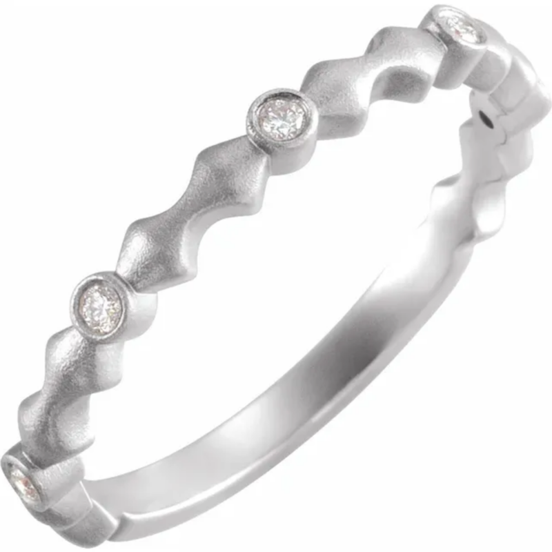 14K White .07 CTW Diamond Anniversary Band with Bead Blast Finish