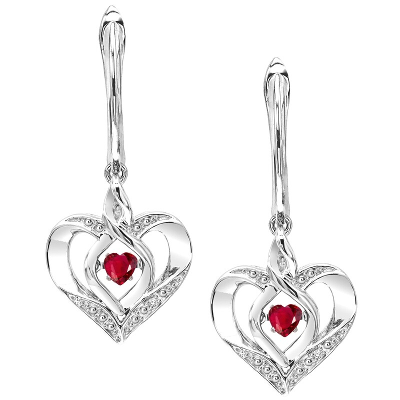 Silver Diamond & Created Garnet Earrings