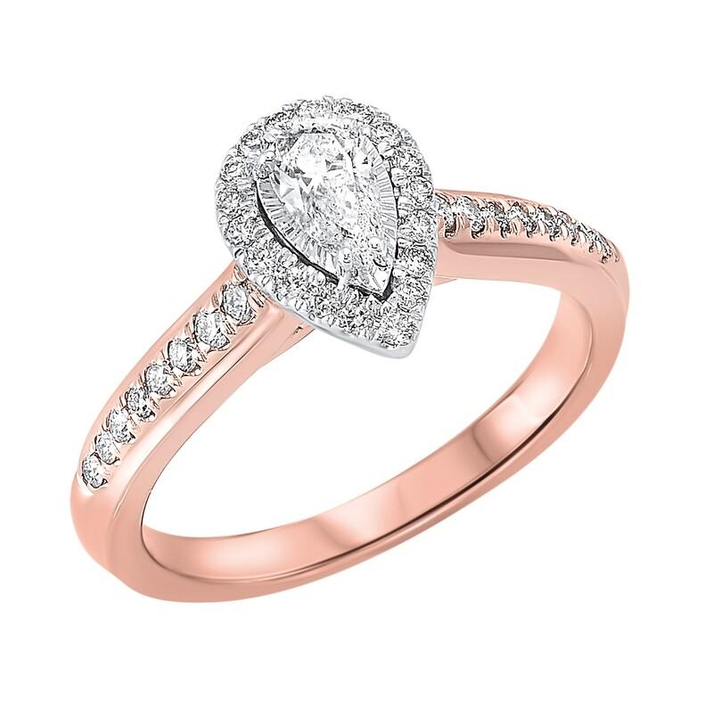 14K TT White/Rose 1/2ctw Pear Shape Ring with 1/3 center