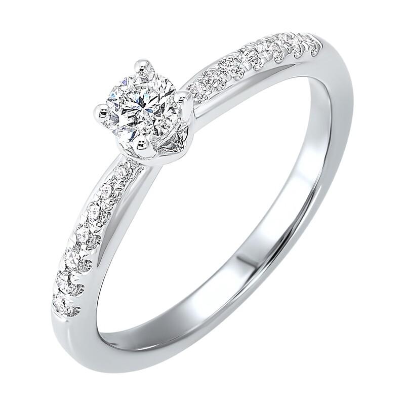14KT W Bridal Ring 1/3ctw