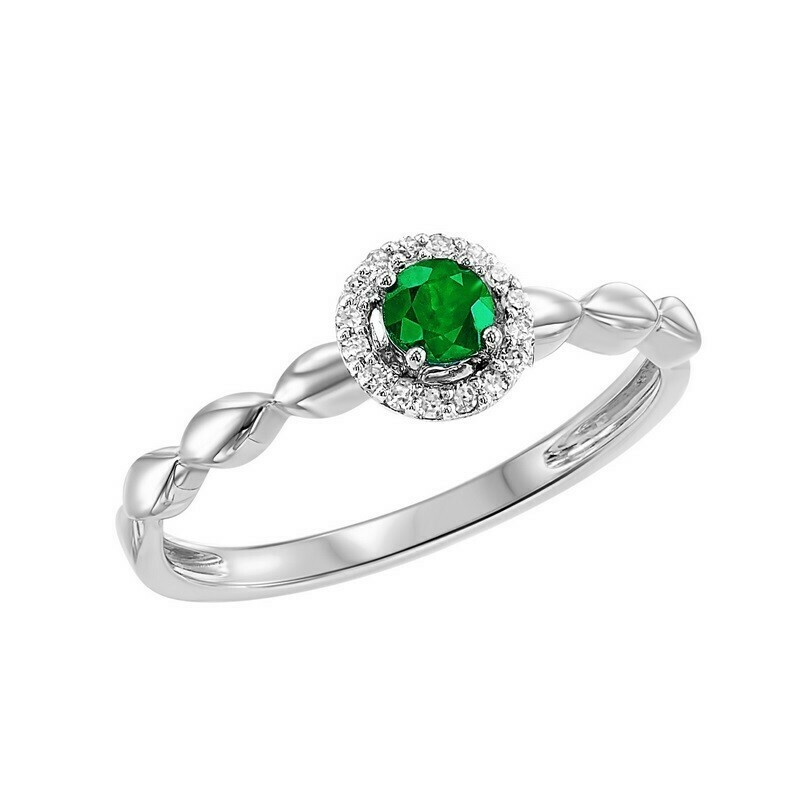 10K White Gold Prong Emerald Ring (1/15 Ct. Tw.)