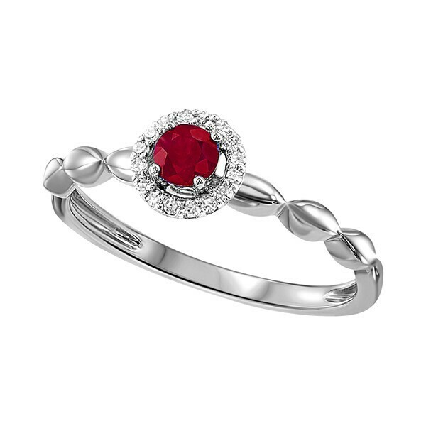 10K White Gold Prong Ruby Ring (1/15 Ct. Tw.)