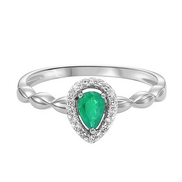 10K White Gold Prong Emerald Ring (1/14 Ct. Tw.)