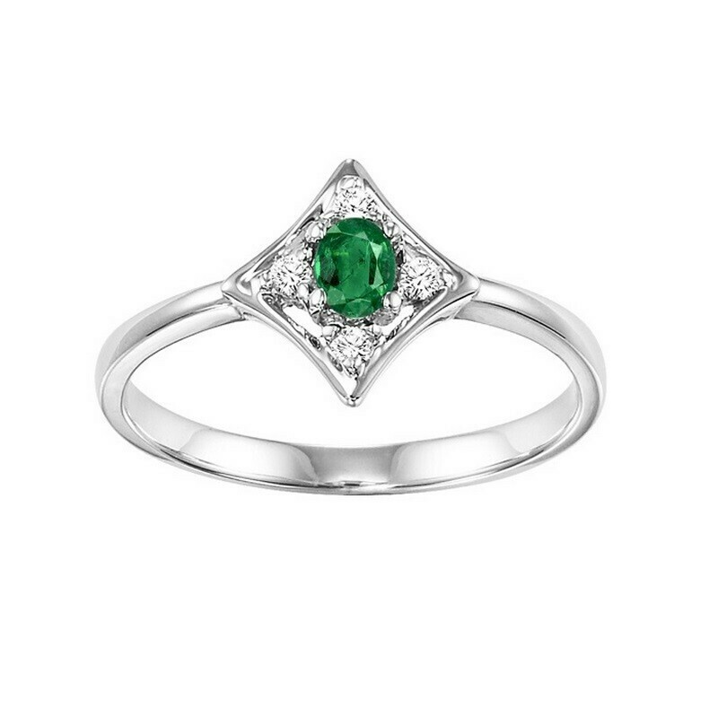 14K White Gold Prong Emerald Ring (1/20 Ct. Tw.)
