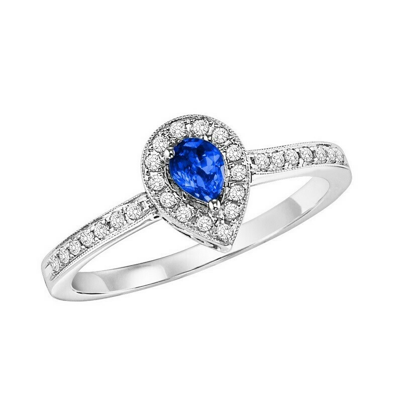 14K White Gold Halo Prong Sapphire Ring (1/6 Ct. Tw.)t. Tw.)