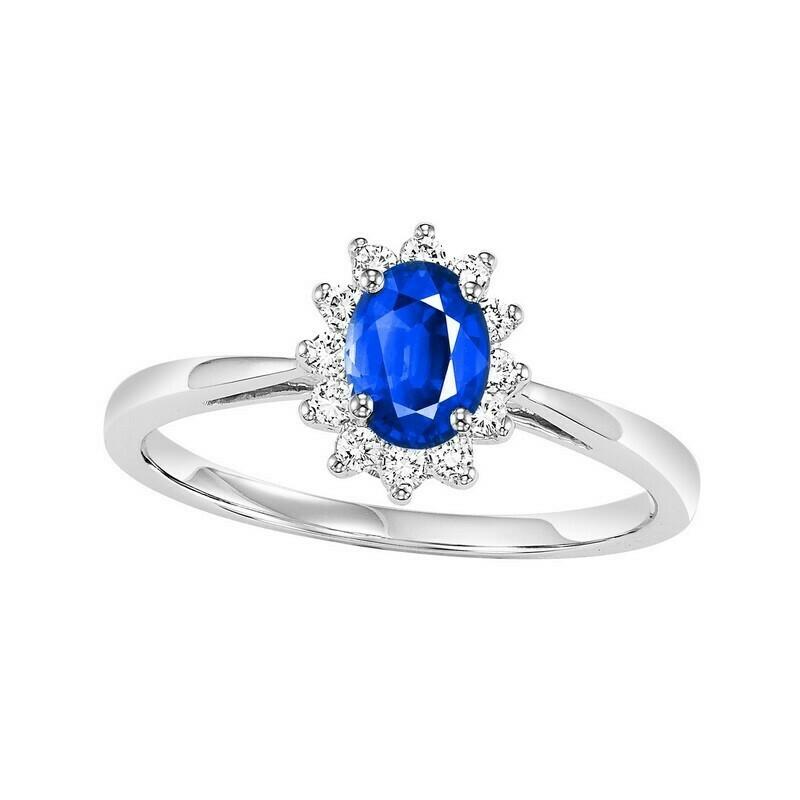 Sapphire & Diamond Flower Halo Ring In 14K White Gold
