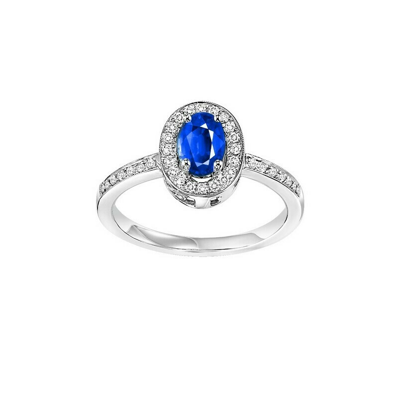 14K White Gold Halo Prong Sapphire Ring (1/5 Ct. Tw.)