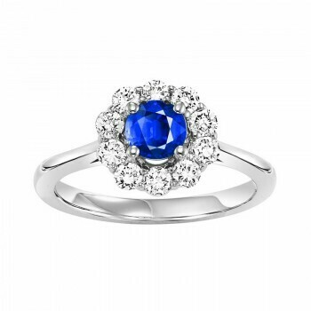 14K White Gold Halo Prong Sapphire Ring (1/2 ct. tw.)