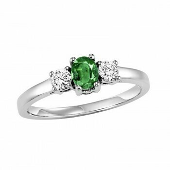 14K White Gold Prong Emerald Ring (1/4 ct. tw.)