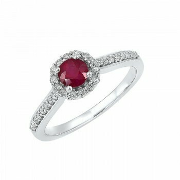 14K White Gold Halo Prong Ruby Ring (1/3 ct. tw.)