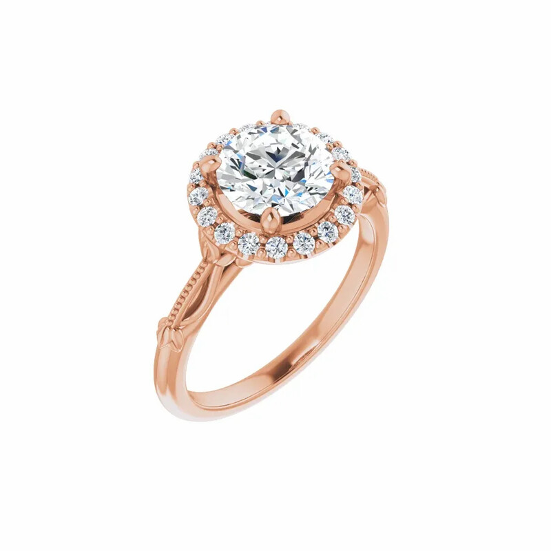 14K Rose Round 1 1/2 ct Engagement Ring