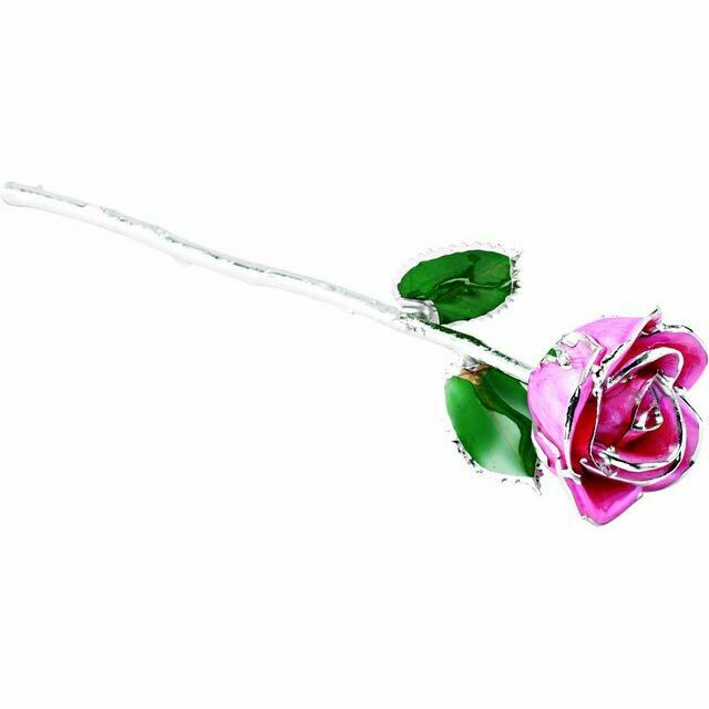 Lacquered Pink Rose with Platinum Trim