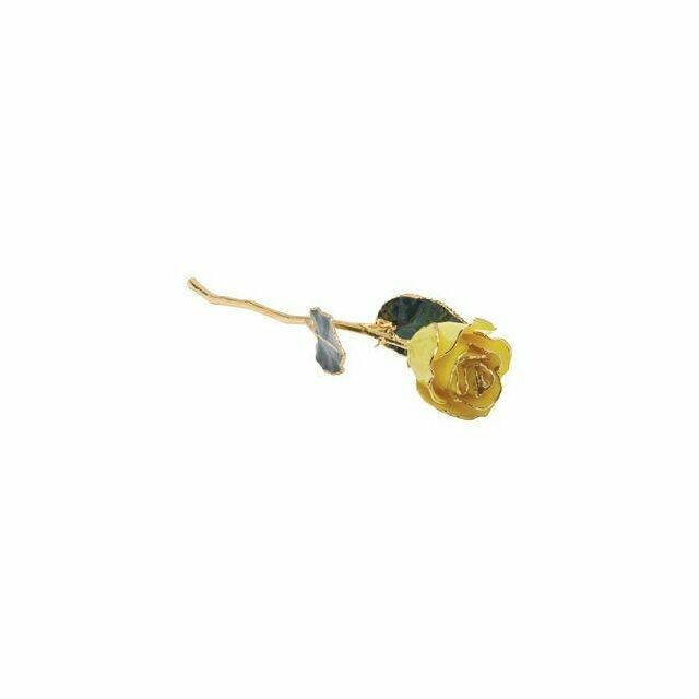 Lacquered Yellow Rose with Gold Trim
