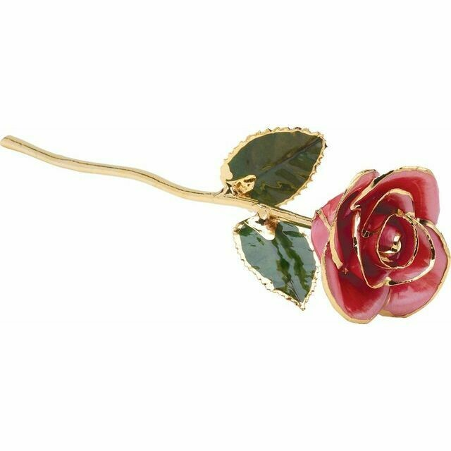 Lacquered Pink Rose with Gold Trim