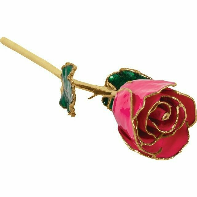 Lacquered Magenta Rose with Gold Trim