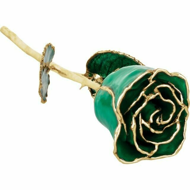 Lacquered Emerald Colored Rose with Gold Trim