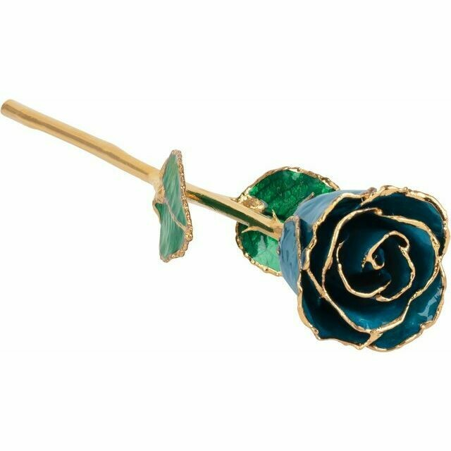 Lacquered Blue Zircon Colored Rose with Gold Trim