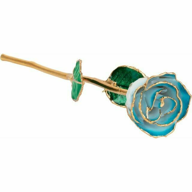 Lacquered Cream Turquoise Rose with Gold Trim