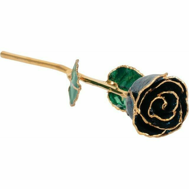 Lacquered Sparkle Blue Colored Rose with Gold Trim