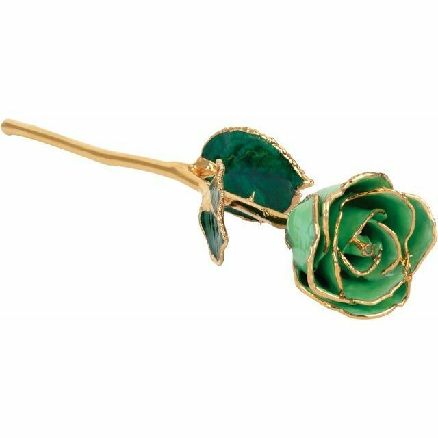 Lacquered Peridot Colored Rose with Gold Trim