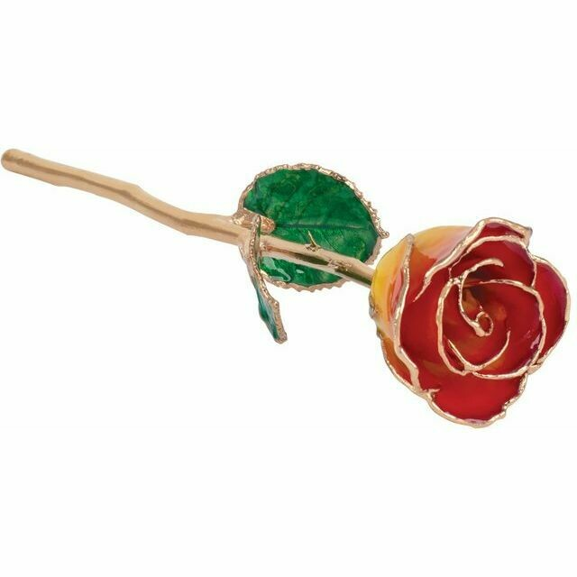 Lacquered Sunset Yellow & Red Rose with Gold Trim