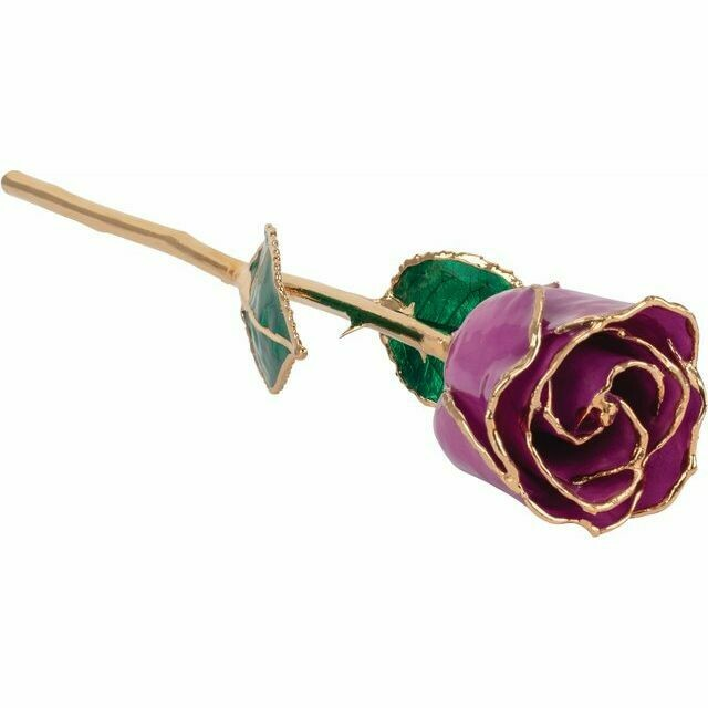 Lacquered Amethyst Colored Rose with Gold Trim