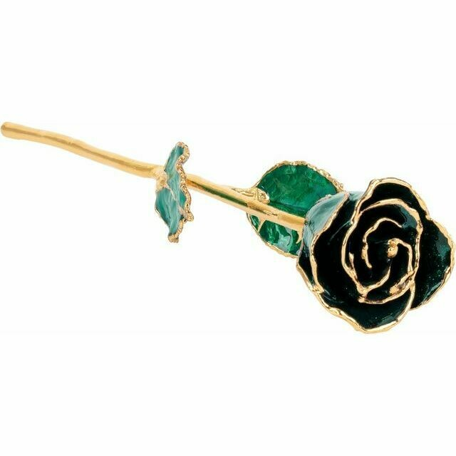 Lacquered Sparkle Emerald Colored Rose with Gold Trim