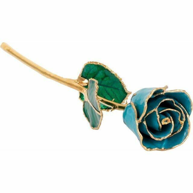 Lacquered Aquamarine Colored Rose with Gold Trim