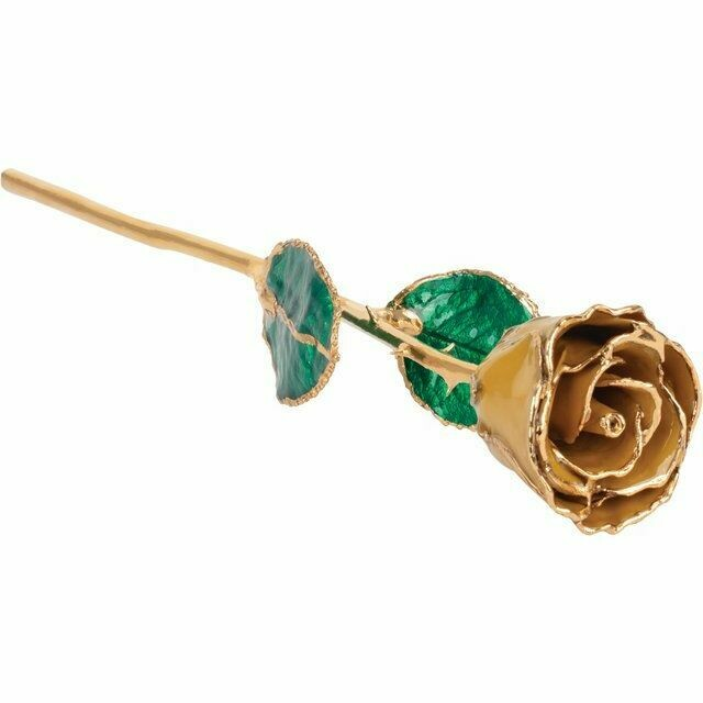 Lacquered Yellow Topaz Colored Rose with Gold Trim