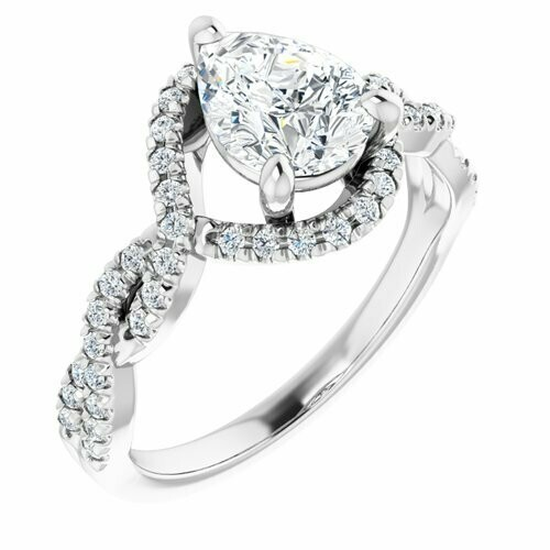 14K White Pear 9/10 ct Engagement Ring