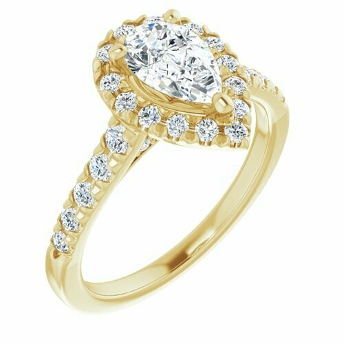 14K Yellow Pear 9/10 ct French Set Engagement Ring