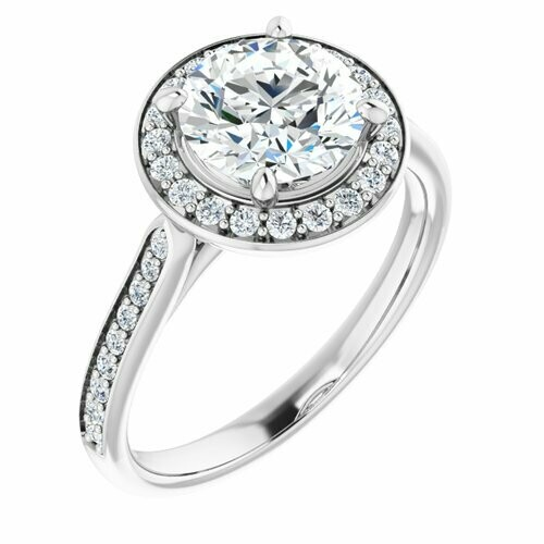 14K White Round 1 1/2 ct Engagement Ring