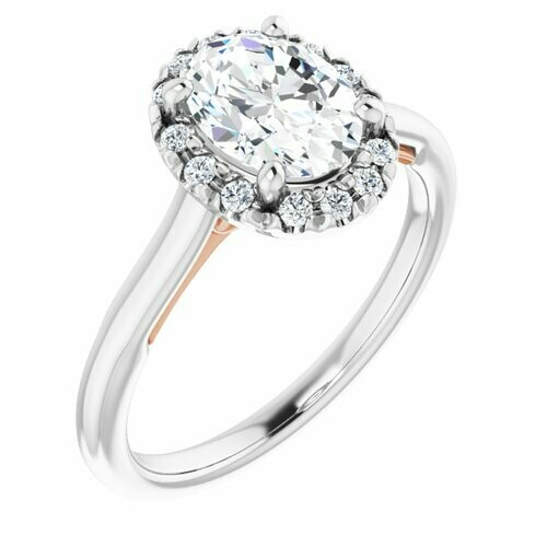 14K White/Rose Oval 1 ct French-Set Engagement Ring