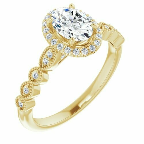 14K Yellow Oval 3/4 ct Engagement Ring