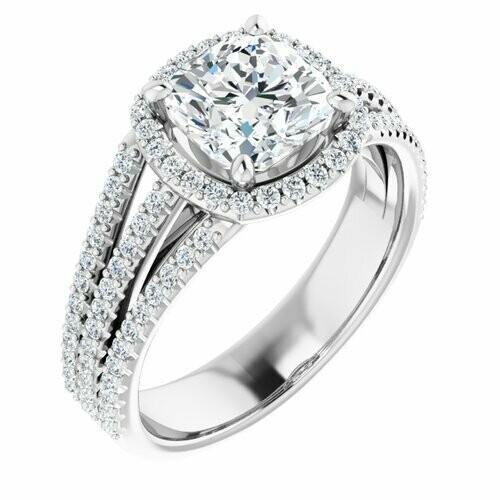14K White Cushion 2 ct Engagement Ring
