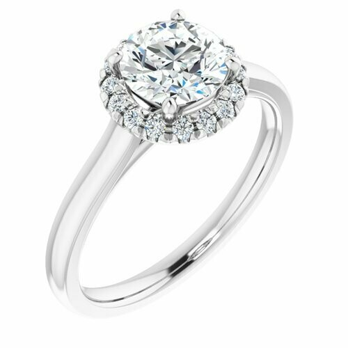 14K White Round 1 ct French-Set Engagement Ring