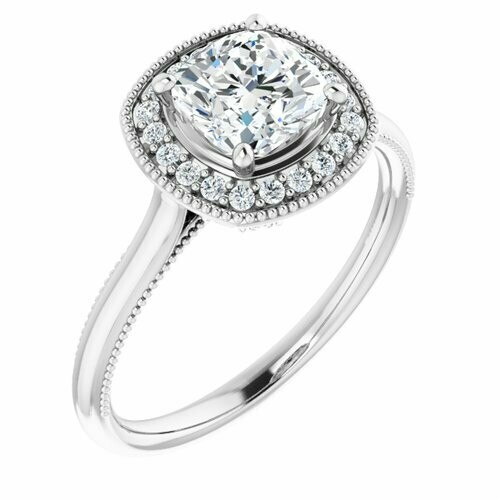 14K White Cushion 1 1/4 ct Engagement Ring