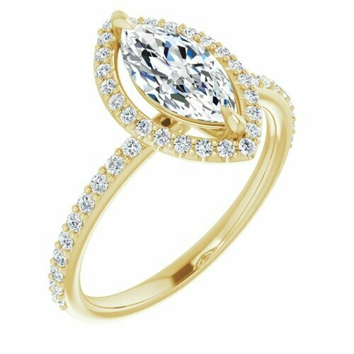 14K Yellow Marquise 9/10 ct Engagement Ring