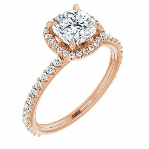 14K Rose Cushion 1 1/4 ct Engagement Ring
