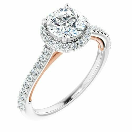 14K White/Rose Round 1 ct Engagement Ring