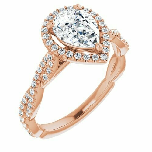 14K Rose Pear 9/10 ct Engagement Ring